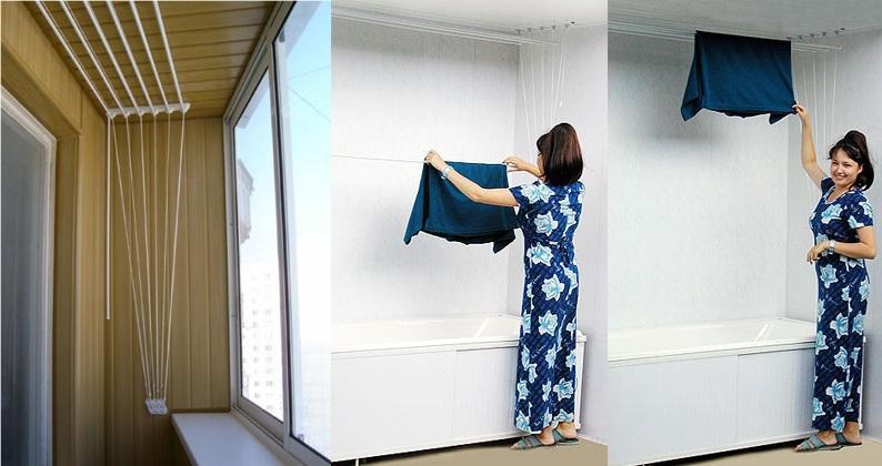 как сушить белье на балконе